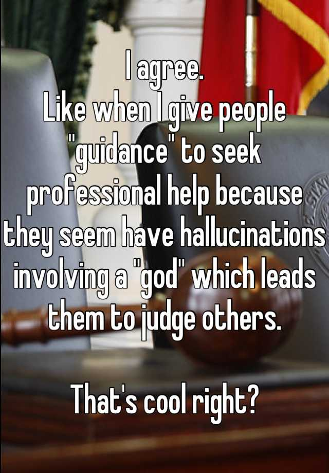 "I agree. Like when I give people ""guidance"" to seek professional help because they seem have hallucinations involving a ""god"" which leads them to judge others.  That's cool right?"