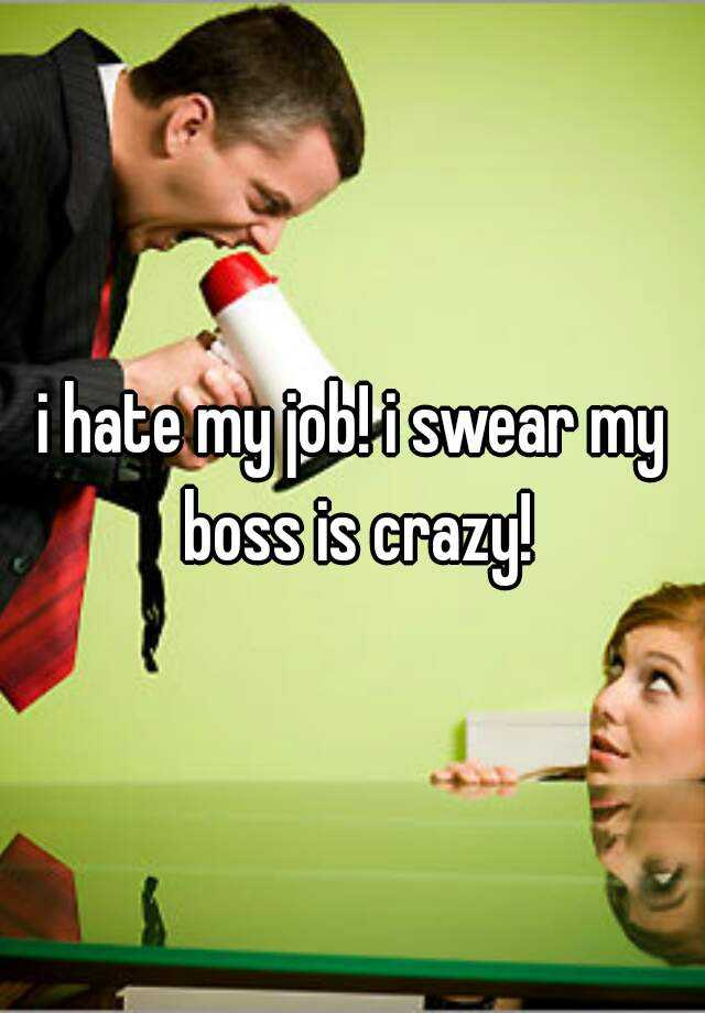 i hate my job! i swear my boss is crazy!