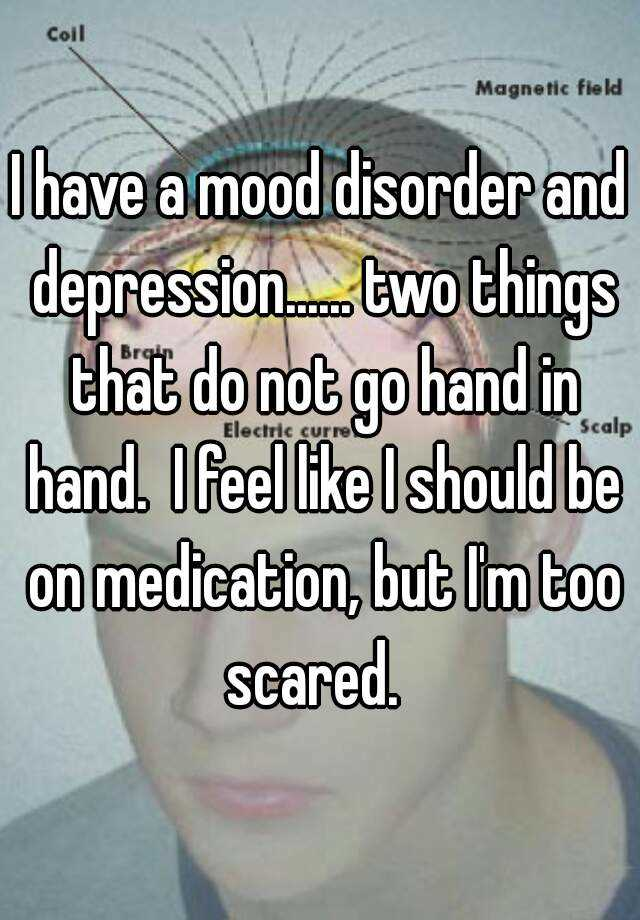 I have a mood disorder and depression...... two things that do not go hand in hand.  I feel like I should be on medication, but I'm too scared.