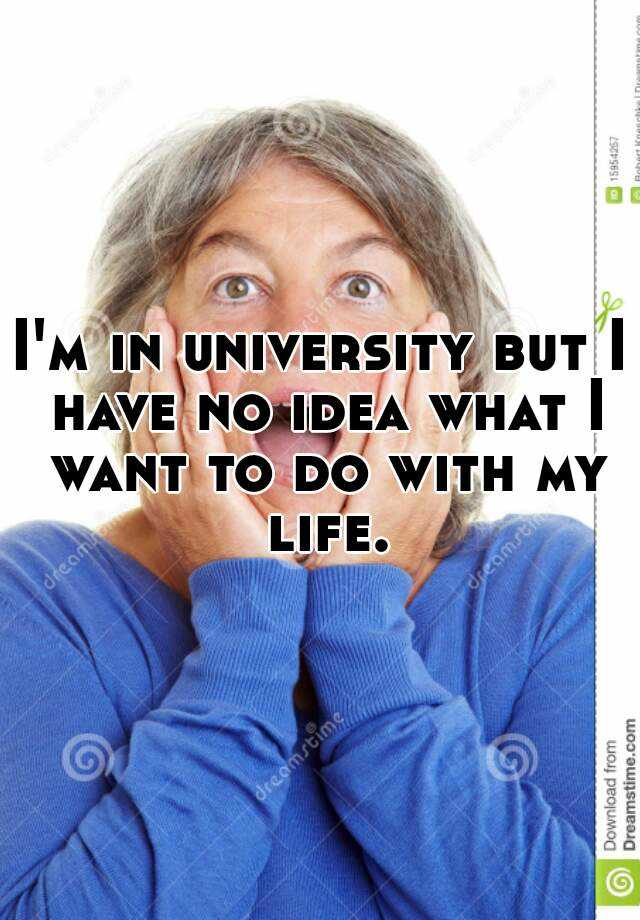 I'm in university but I have no idea what I want to do with my life.