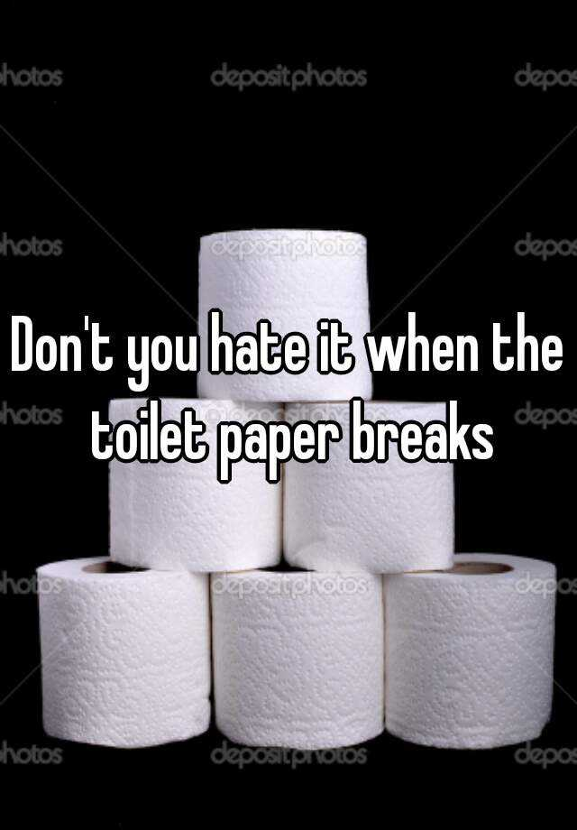 Don't you hate it when the toilet paper breaks