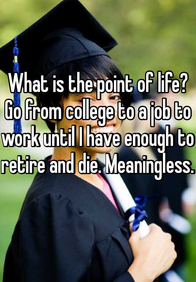 What is the point of life? Go from college to a job to work until I have enough to retire and die. Meaningless.